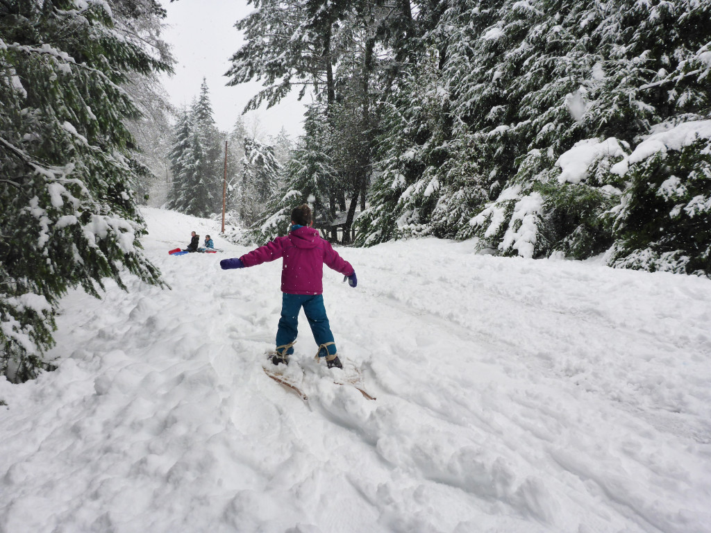 snow day, trying out snow shoes for the first time!