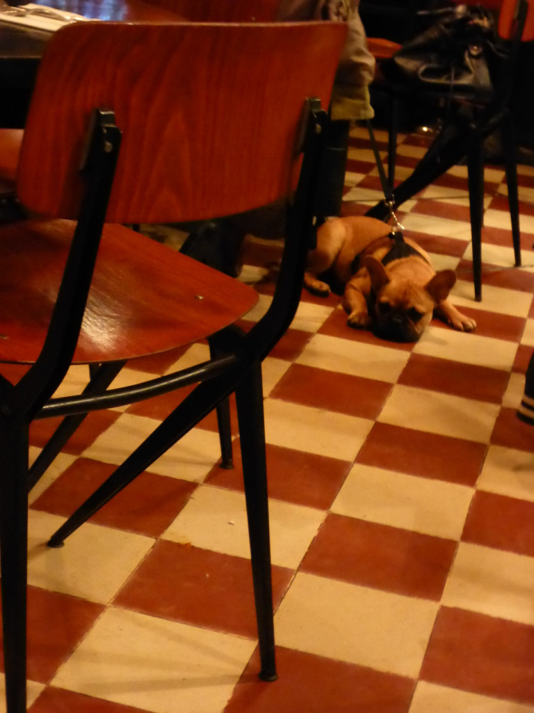 fellow diner taking a nap between courses
