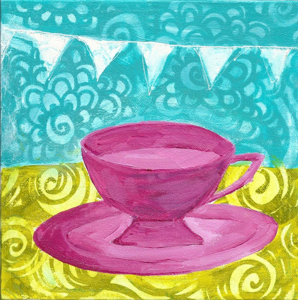 tea party pink tea cup 8x8 2017